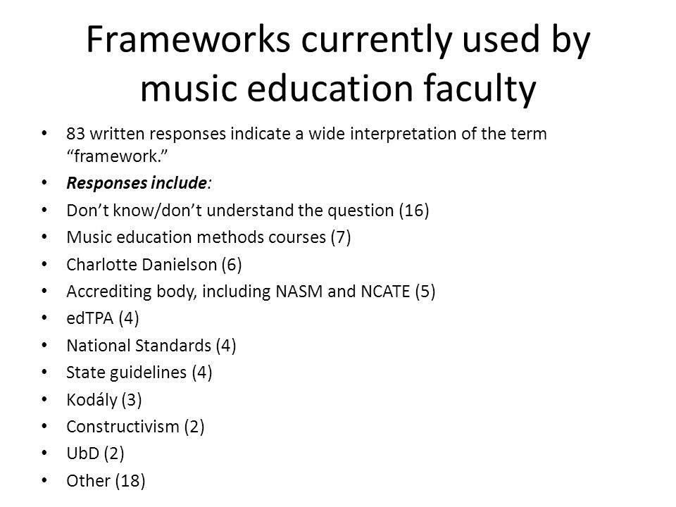"""Frameworks currently used by music education faculty 83 written responses indicate a wide interpretation of the term """"framework."""" Responses include: D"""