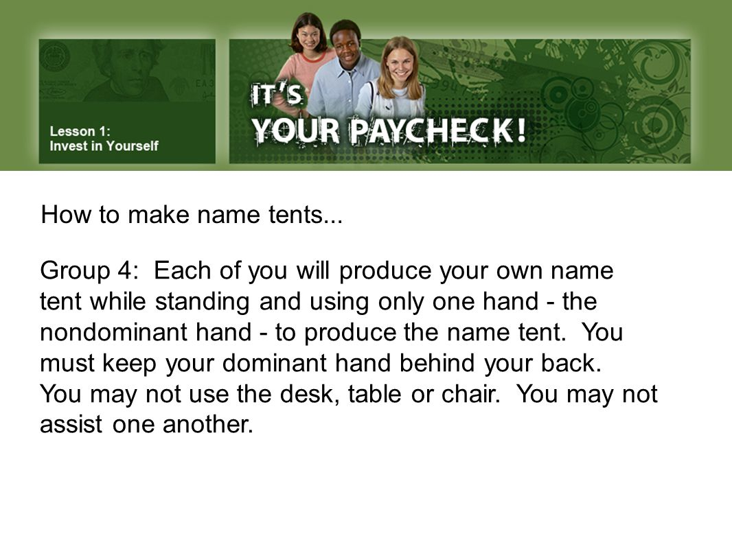 How to make name tents...