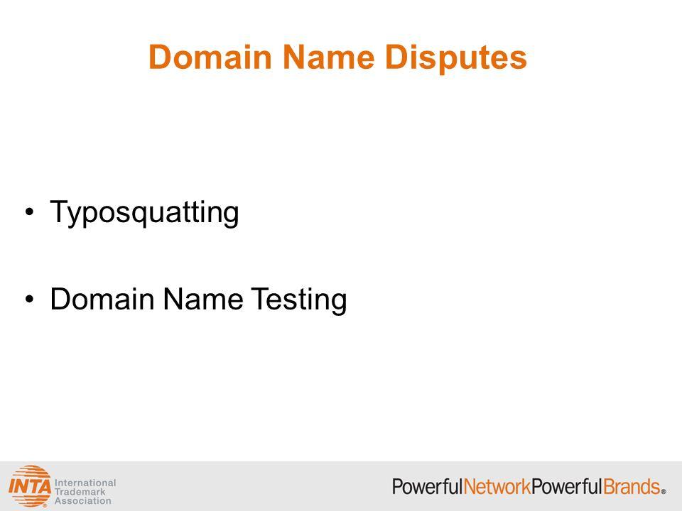 Domain Name Disputes Typosquatting Domain Name Testing