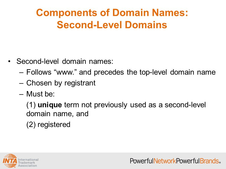 Components of Domain Names: Second-Level Domains Second-level domain names: –Follows www. and precedes the top-level domain name –Chosen by registrant –Must be: (1) unique term not previously used as a second-level domain name, and (2) registered
