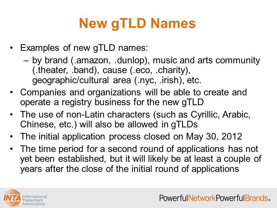 New gTLD Names Examples of new gTLD names: –by brand (.amazon,.dunlop), music and arts community (.theater,.band), cause (.eco,.charity), geographic/cultural area (.nyc,.irish), etc.