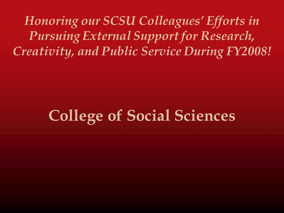 Honoring our SCSU Colleagues' Efforts in Pursuing External Support for Research, Creativity, and Public Service During FY2008.