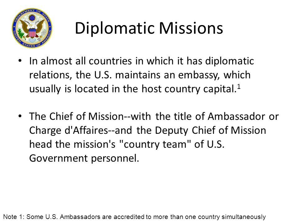 Diplomatic Missions In almost all countries in which it has diplomatic relations, the U.S. maintains an embassy, which usually is located in the host