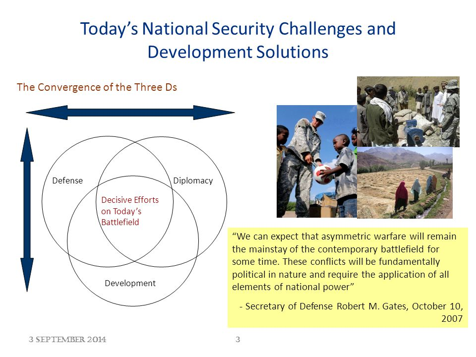 3 September 20143 Today's National Security Challenges and Development Solutions The Convergence of the Three Ds Decisive Efforts on Today's Battlefie