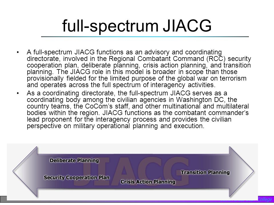 Joint Forces Staff College full-spectrum JIACG A full-spectrum JIACG functions as an advisory and coordinating directorate, involved in the Regional C