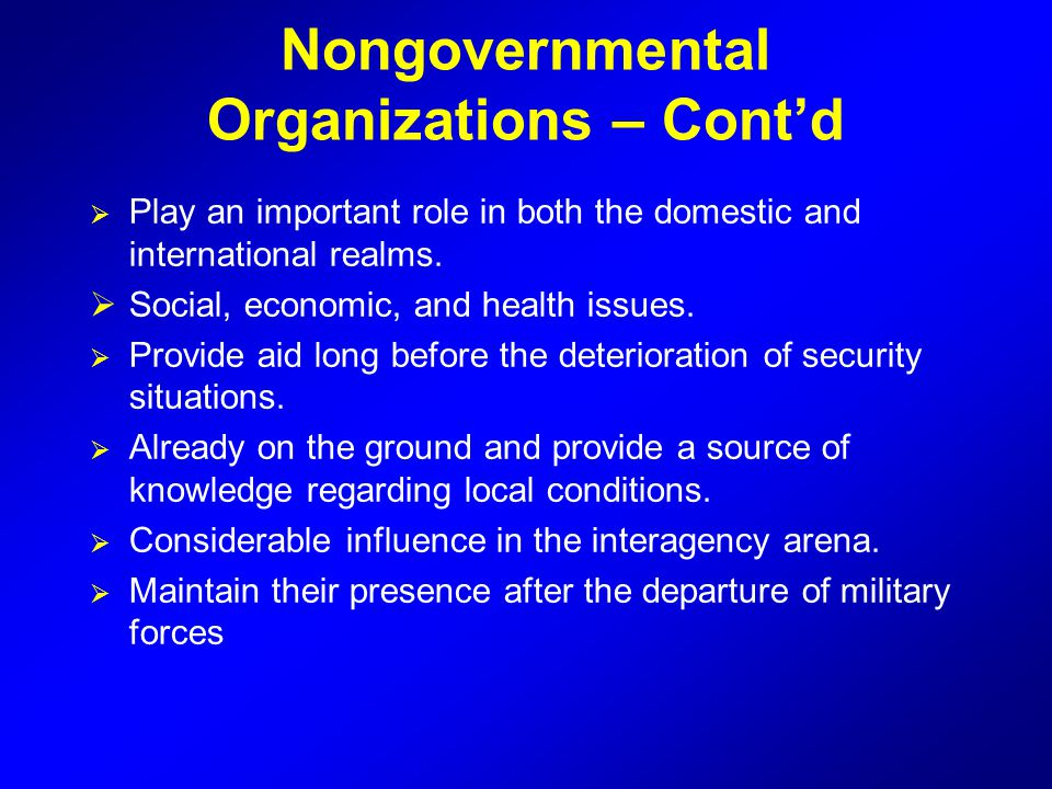 Nongovernmental Organizations – Cont'd  Play an important role in both the domestic and international realms.  Social, economic, and health issues.