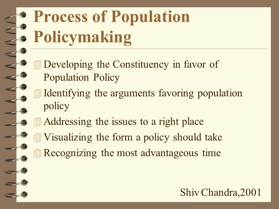 Elements common to Population Policies 4 Rationale : demographic analysis 4 Objectives and Goals 4 Targets : time bound level of fertility 4 Program Measures Shiv Chandra,2001