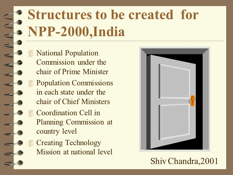 Strategies for NPP-2000, India 4 Decentralise the Plan and Program Implementation 4 Convergence in services at delivery points 4 Women Empowerment to mitigate nutrition/health problems of females 4 Strengthening child survival 4 Meeting the unmet need for FW 4 Special services for slums 4 Attending Adolescents 4 Increasing Male Participation Shiv Chandra,2001