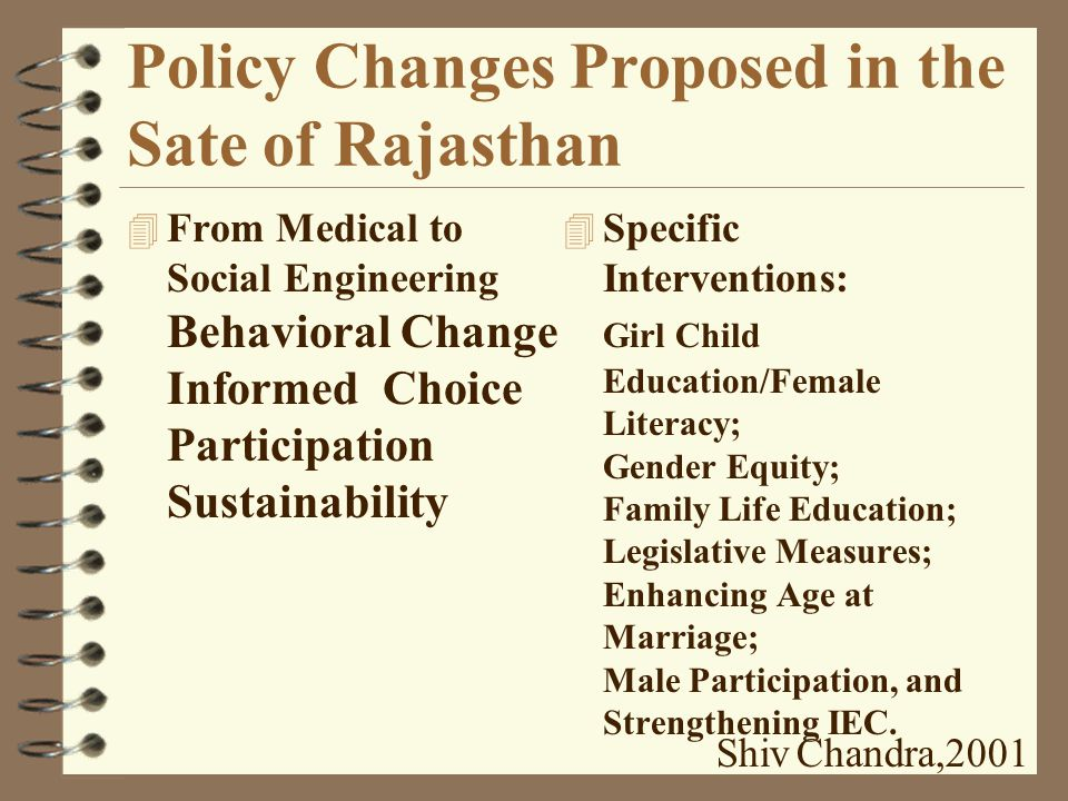 Trends in Population Growth of Rajasthan Shiv Chandra,2001 4 With the existing TFR 4.4, CPR 40 %, IMR 86 and decadal Growth Rate of 28 %, the State's population would reach to 98.8 million by 2041 A.D 4 State's Population Policy aims to achieve TFR 2.1 by 2016 through raising CPR to >65%.