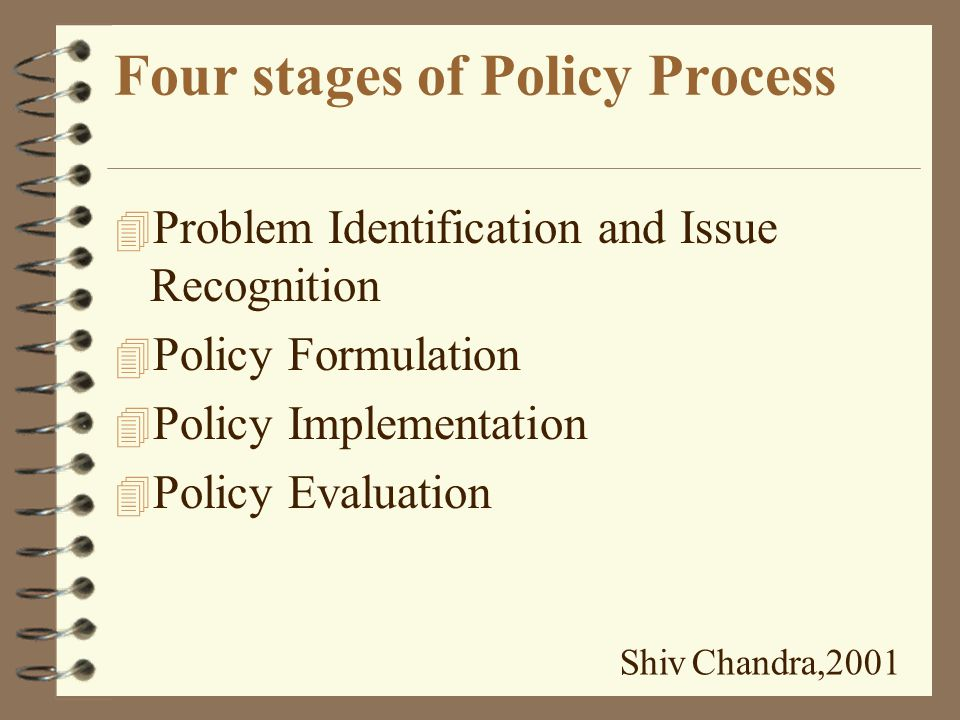 Basis for Policy 4 Set of Values 4 Commitments 4 Assessment of current situation 4 Image of a desired future situation. Shiv Chandra,2001