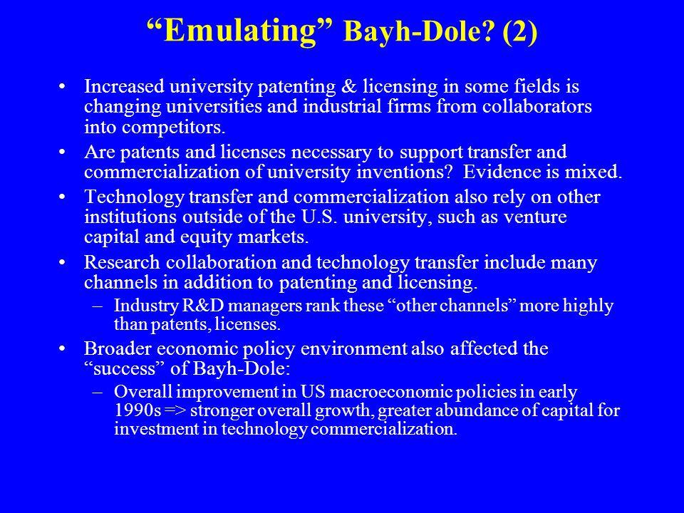 Emulating Bayh-Dole.