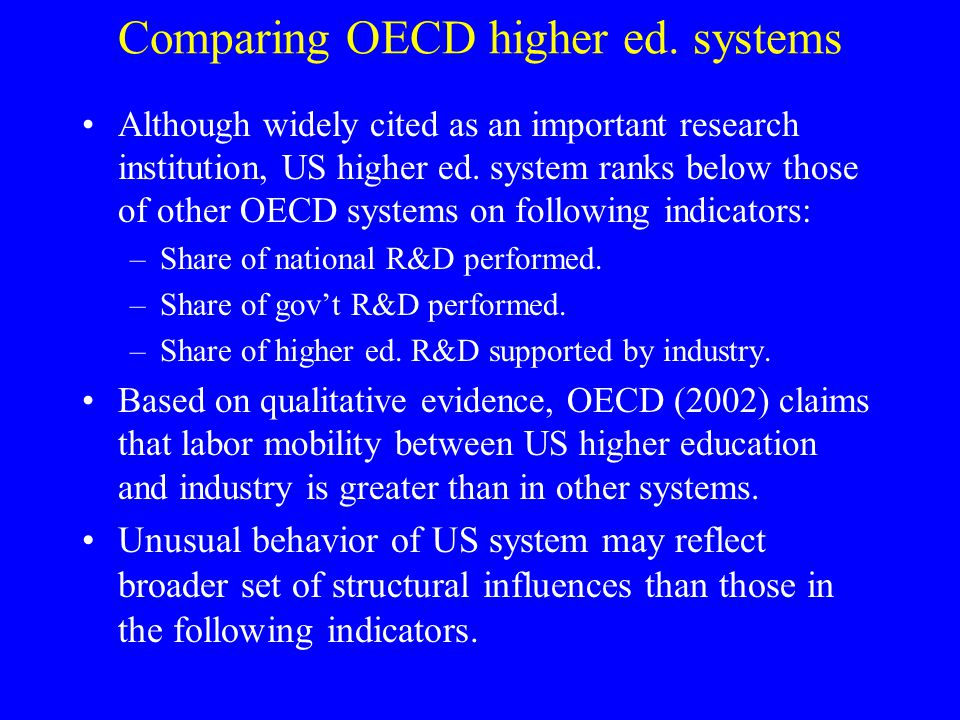 Comparing OECD higher ed.