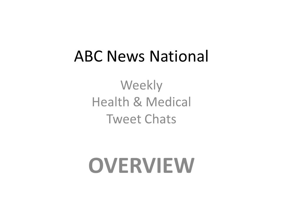 ABC News National Weekly Health & Medical Tweet Chats OVERVIEW