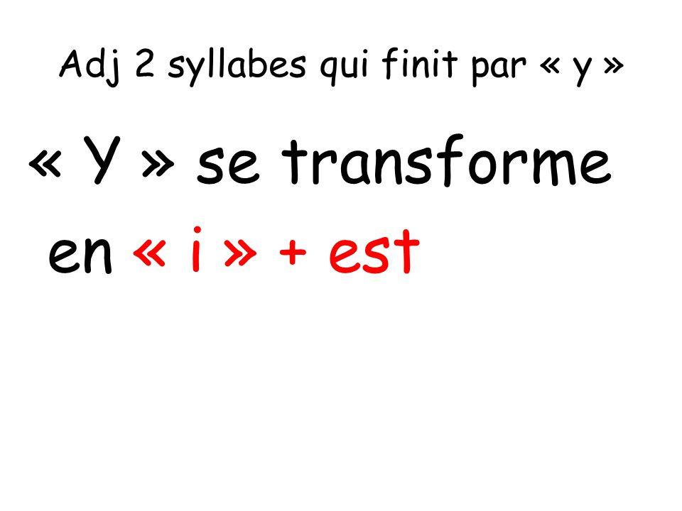 Adj 2 syllabes qui finit par « y » « Y » se transforme en « i » + est