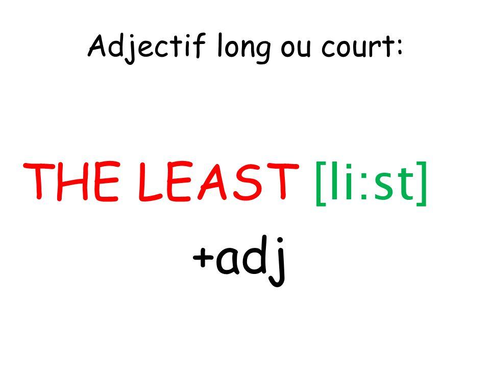 Adjectif long ou court: THE LEAST [li:st] +adj