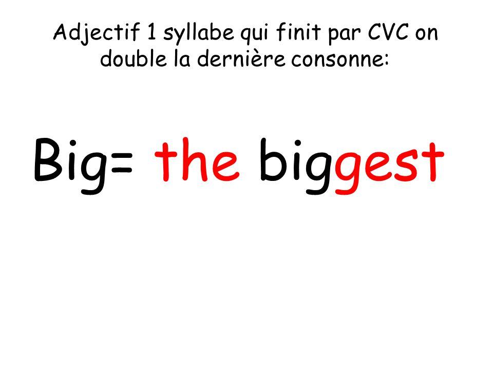 Adjectif 1 syllabe qui finit par CVC on double la dernière consonne: Big= the biggest