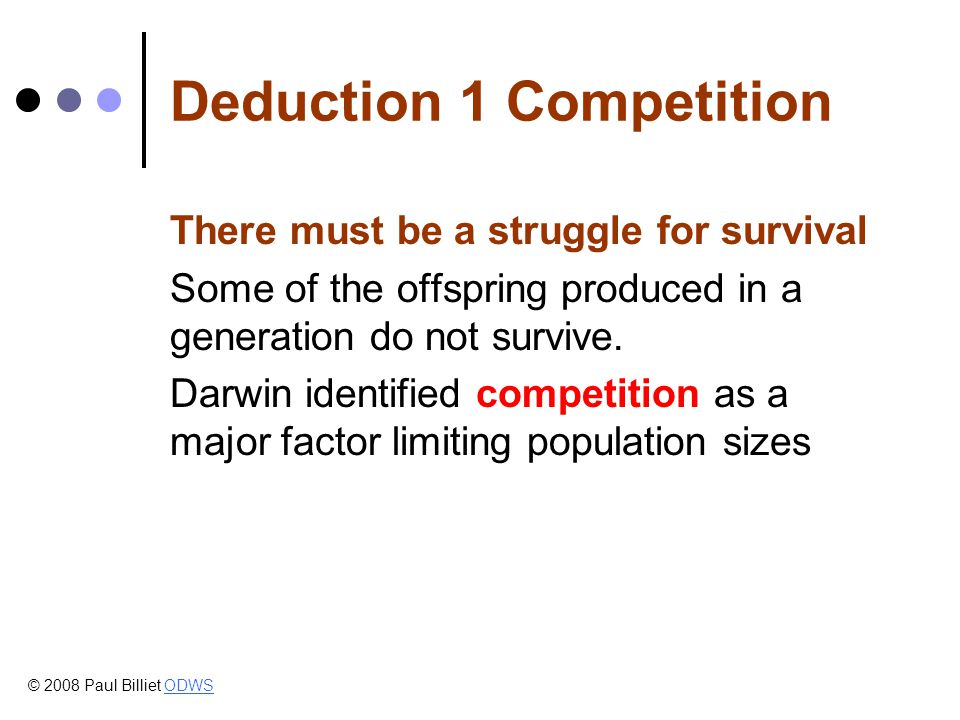 Deduction 1 Competition There must be a struggle for survival Some of the offspring produced in a generation do not survive.