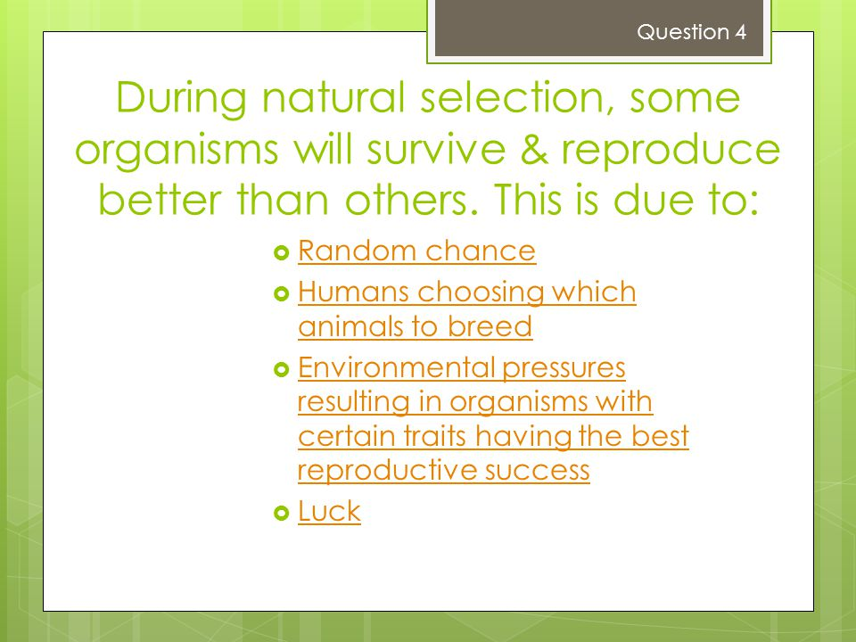 During natural selection, some organisms will survive & reproduce better than others.