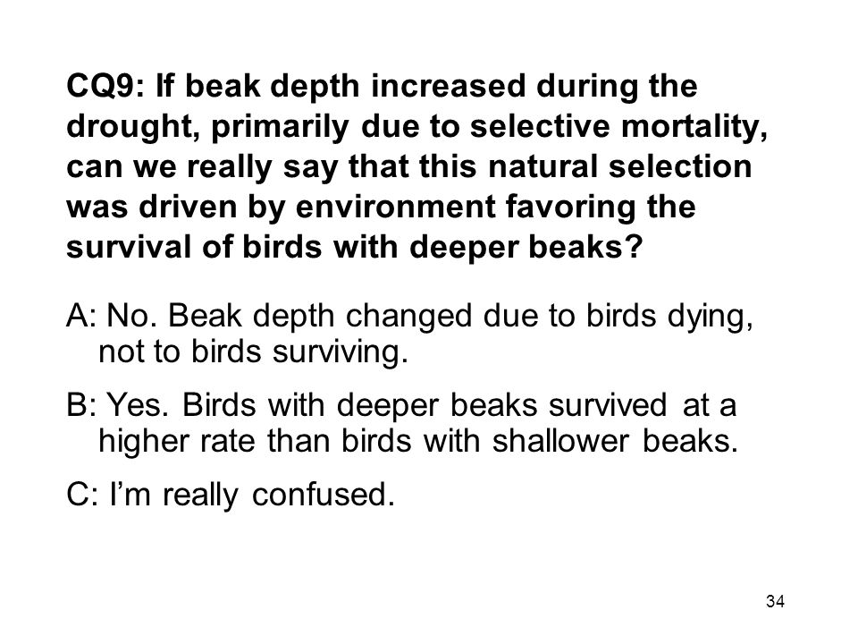 CQ9: If beak depth increased during the drought, primarily due to selective mortality, can we really say that this natural selection was driven by env