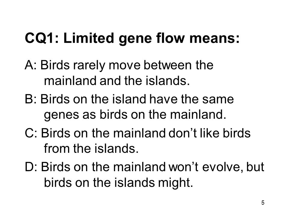 CQ1: Limited gene flow means: A: Birds rarely move between the mainland and the islands. B: Birds on the island have the same genes as birds on the ma