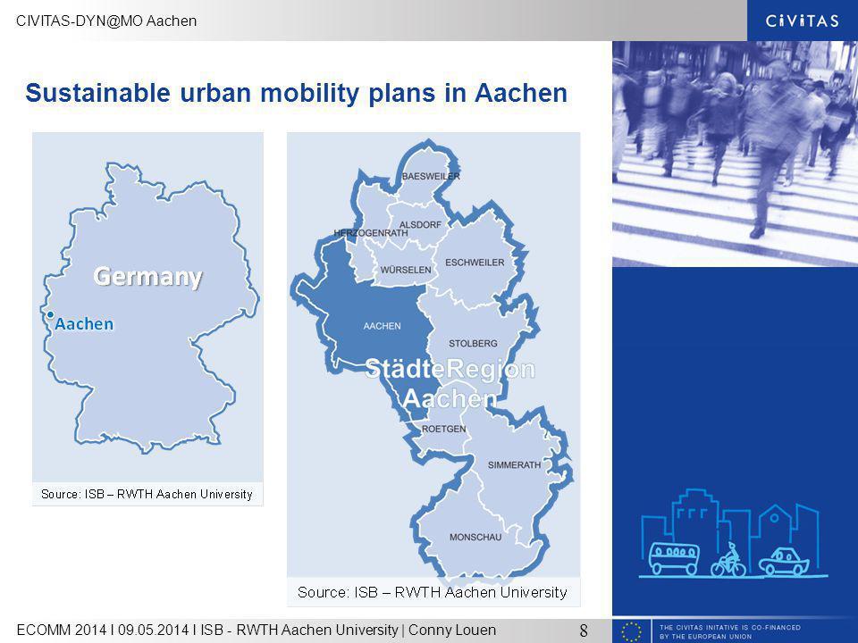 CIVITAS-DYN@MO Aachen ECOMM 2014 l 09.05.2014 l ISB - RWTH Aachen University | Conny Louen 8 Sustainable urban mobility plans in Aachen