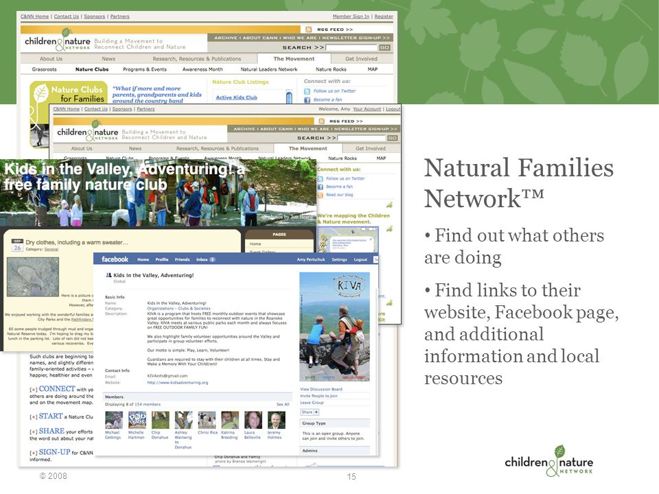 Natural Families Network™ Find out what others are doing Find links to their website, Facebook page, and additional information and local resources © 2008 15