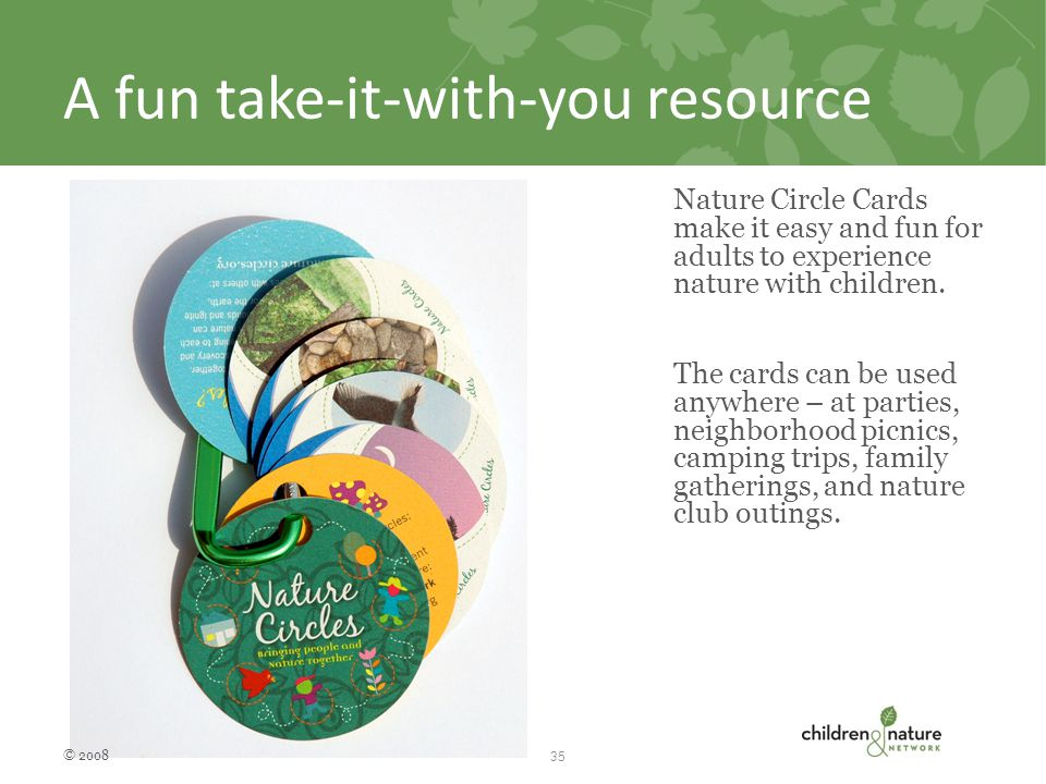 A fun take-it-with-you resource Nature Circle Cards make it easy and fun for adults to experience nature with children.