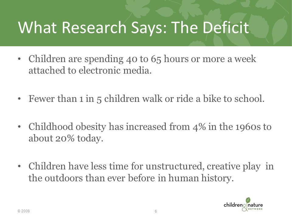 What Research Says: The Deficit Children are spending 40 to 65 hours or more a week attached to electronic media.
