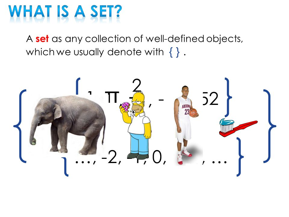 A set as any collection of well-defined objects, which we usually denote with { }.