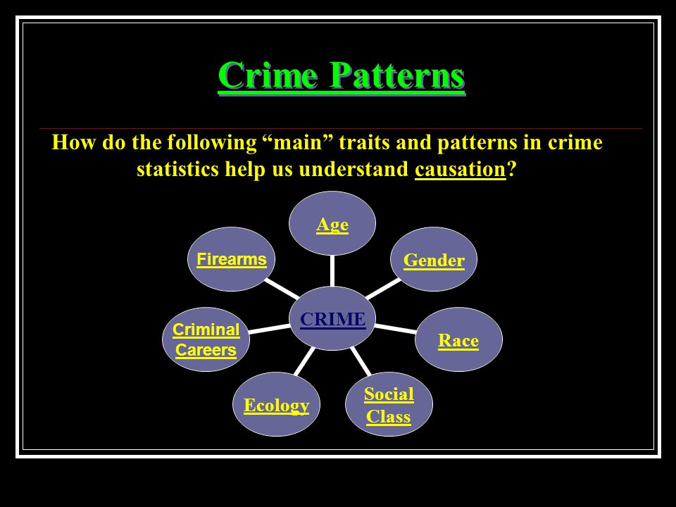 Crime Patterns How do the following main traits and patterns in crime statistics help us understand causation.