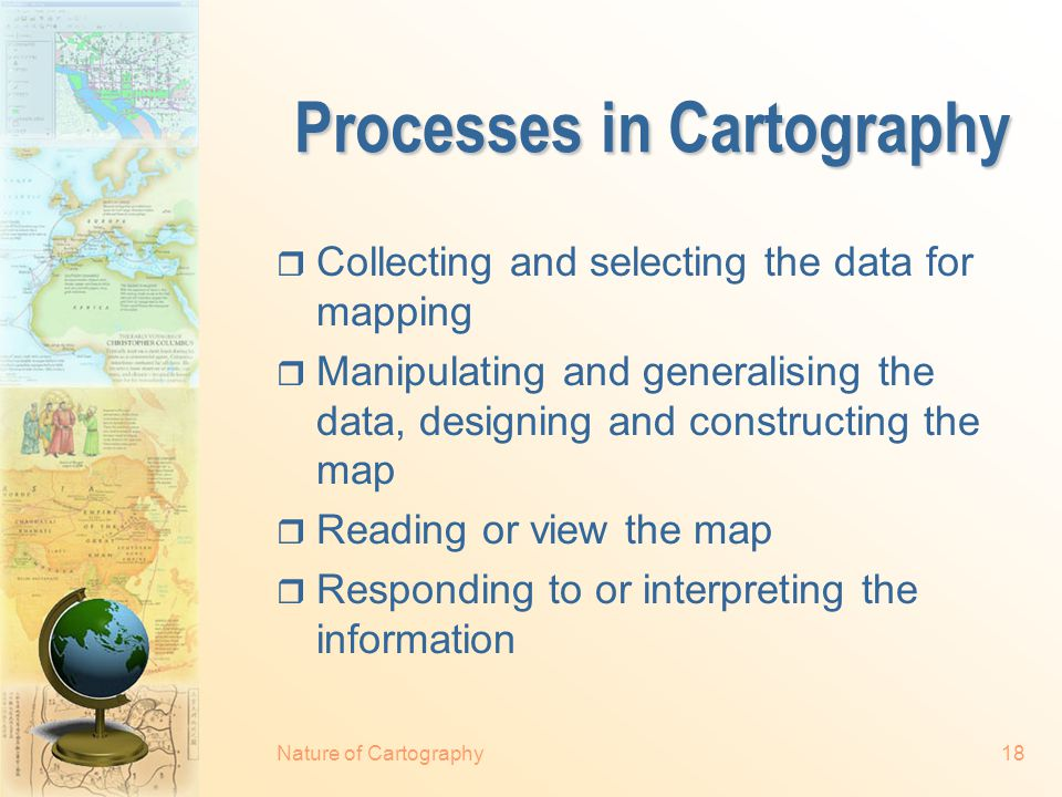 Nature of Cartography17 The Scope of Cartography Map Maker Map User DataMap