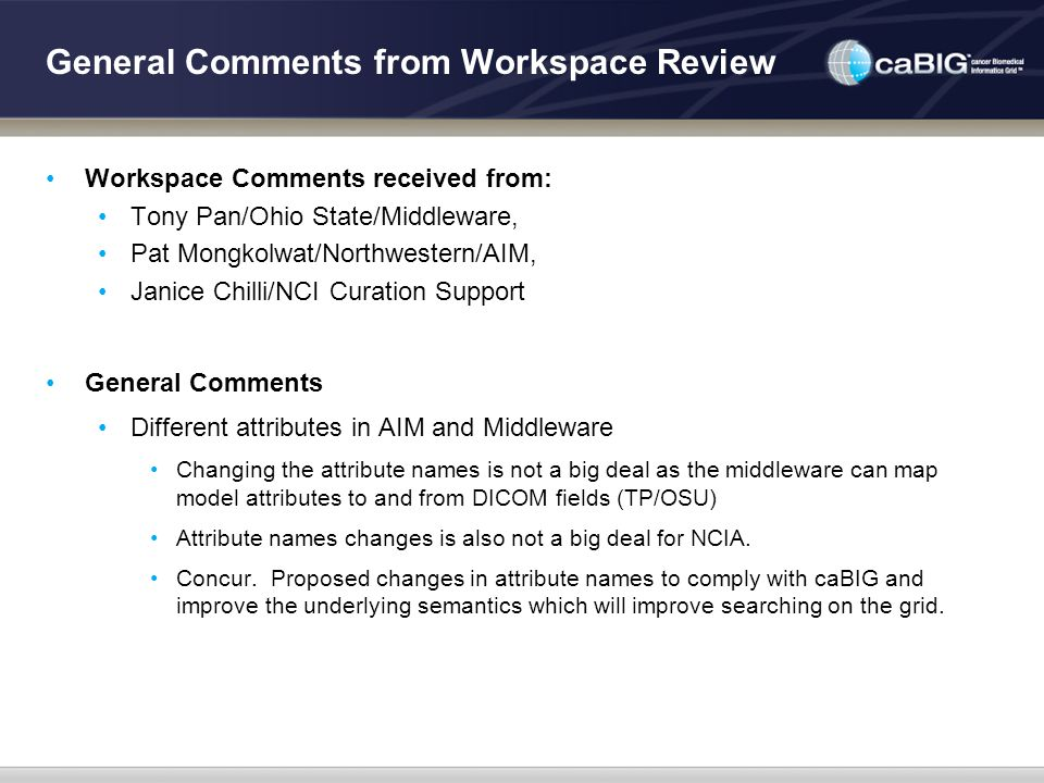 General Comments from Workspace Review Workspace Comments received from: Tony Pan/Ohio State/Middleware, Pat Mongkolwat/Northwestern/AIM, Janice Chill