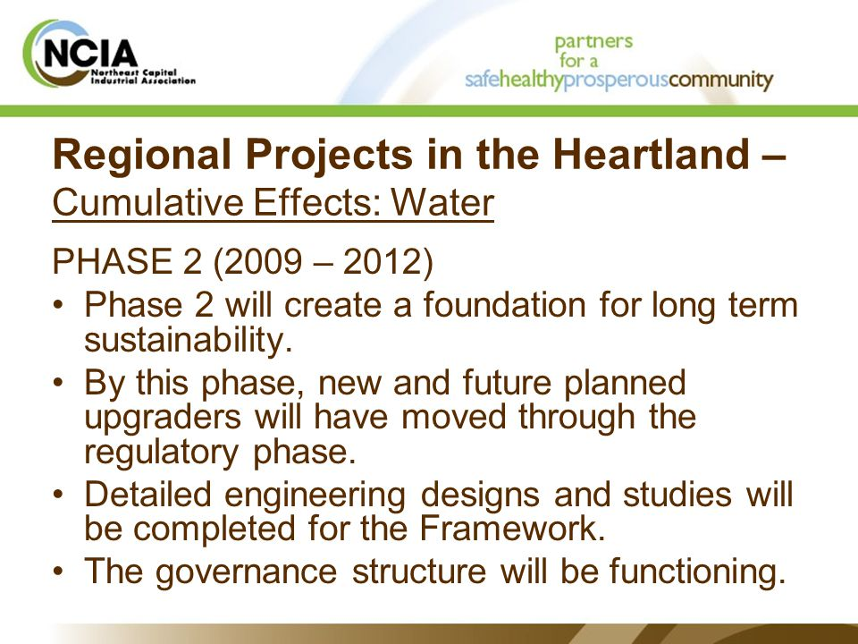Regional Projects in the Heartland – Cumulative Effects: Water PHASE 2 (2009 – 2012) Phase 2 will create a foundation for long term sustainability.