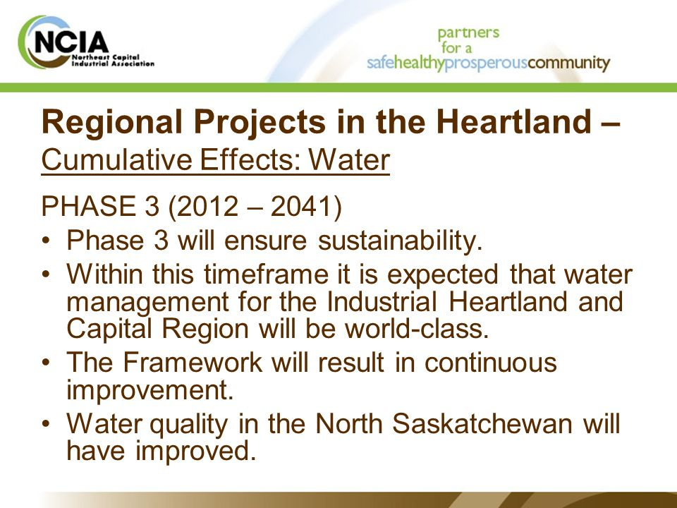 Regional Projects in the Heartland – Cumulative Effects: Water PHASE 3 (2012 – 2041) Phase 3 will ensure sustainability.