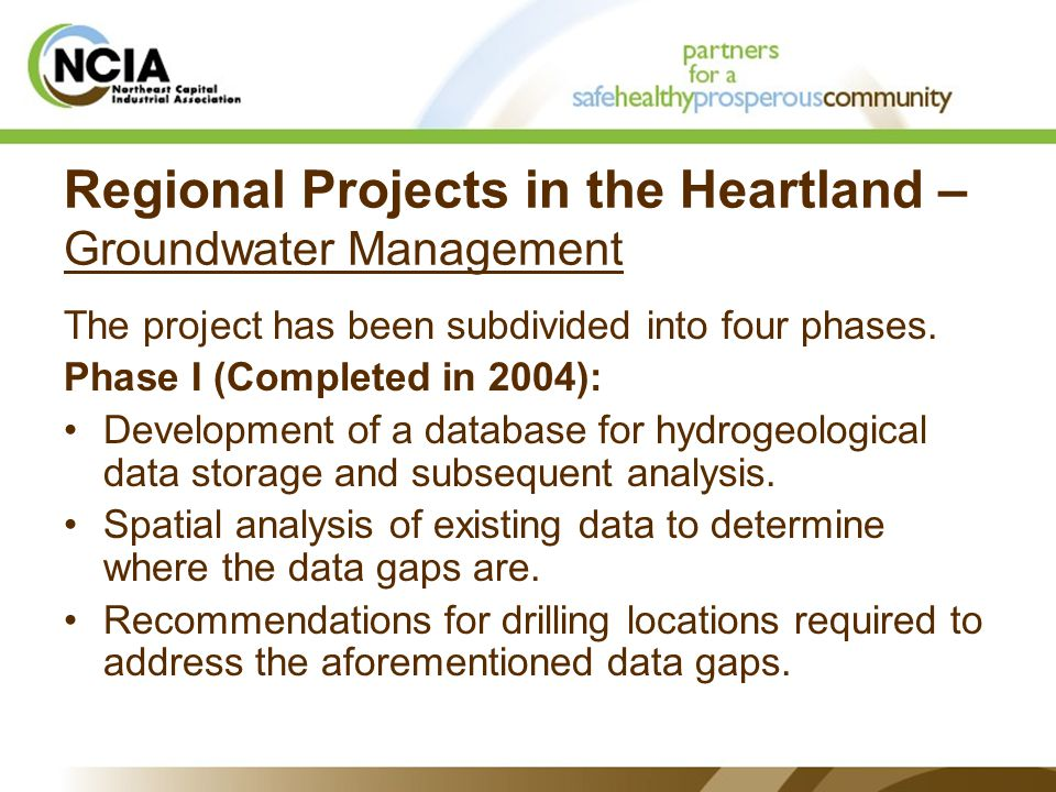 Regional Projects in the Heartland – Groundwater Management The project has been subdivided into four phases.