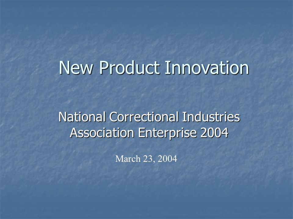 New Product Innovation National Correctional Industries Association Enterprise 2004 March 23, 2004