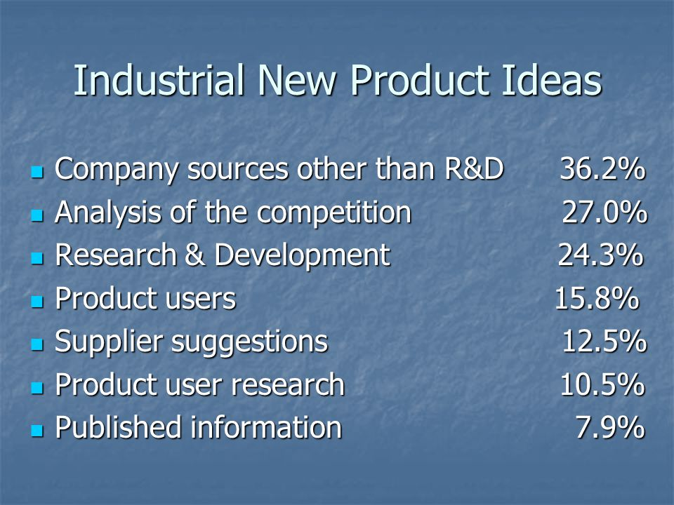 Industrial New Product Ideas Company sources other than R&D 36.2% Company sources other than R&D 36.2% Analysis of the competition 27.0% Analysis of t