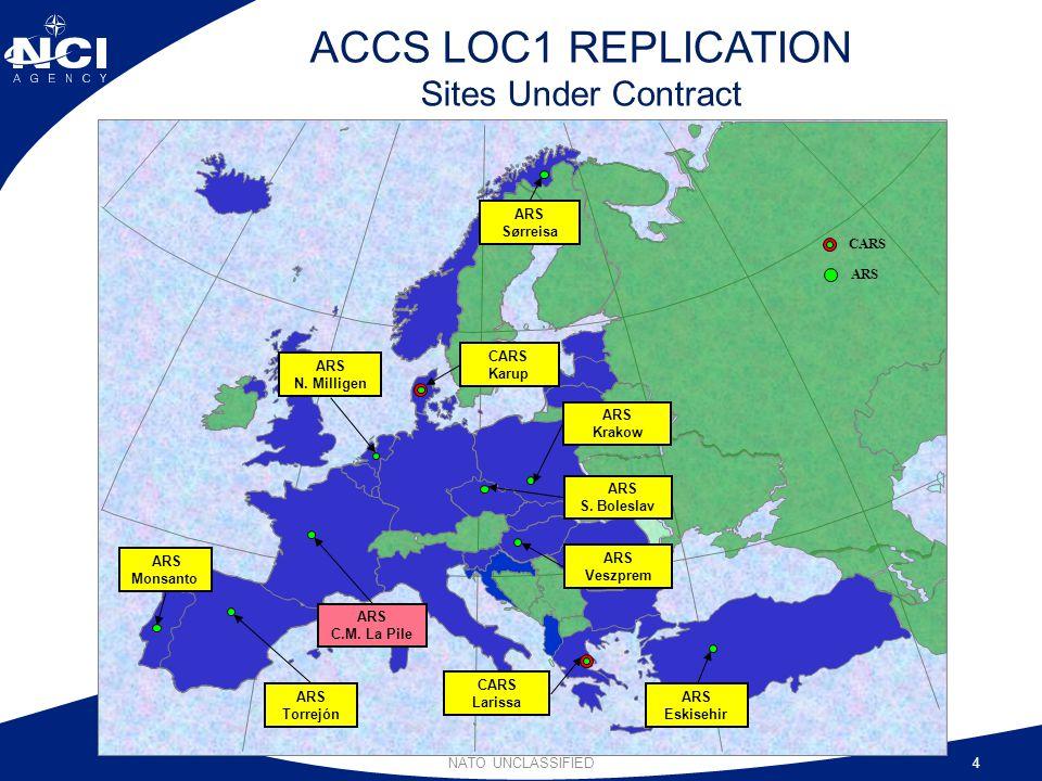 NATO UNCLASSIFIED4 ACCS LOC1 REPLICATION Sites Under Contract ARS CARS ARS N. Milligen CARS Karup ARS Sørreisa ARS Monsanto ARS Torrejón ARS C.M. La P