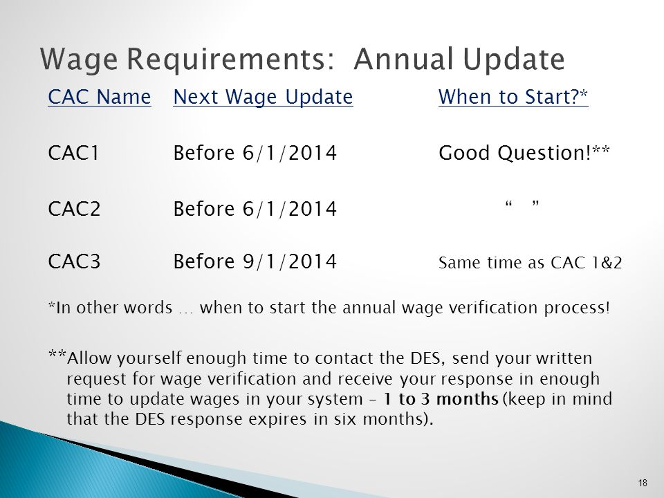 """CAC NameNext Wage UpdateWhen to Start?* CAC1Before 6/1/2014Good Question!** CAC2Before 6/1/2014"""" """" CAC3Before 9/1/2014 Same time as CAC 1&2 *In other"""