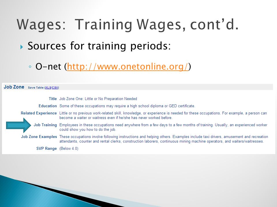  Sources for training periods: ◦ O-net (http://www.onetonline.org/)http://www.onetonline.org/