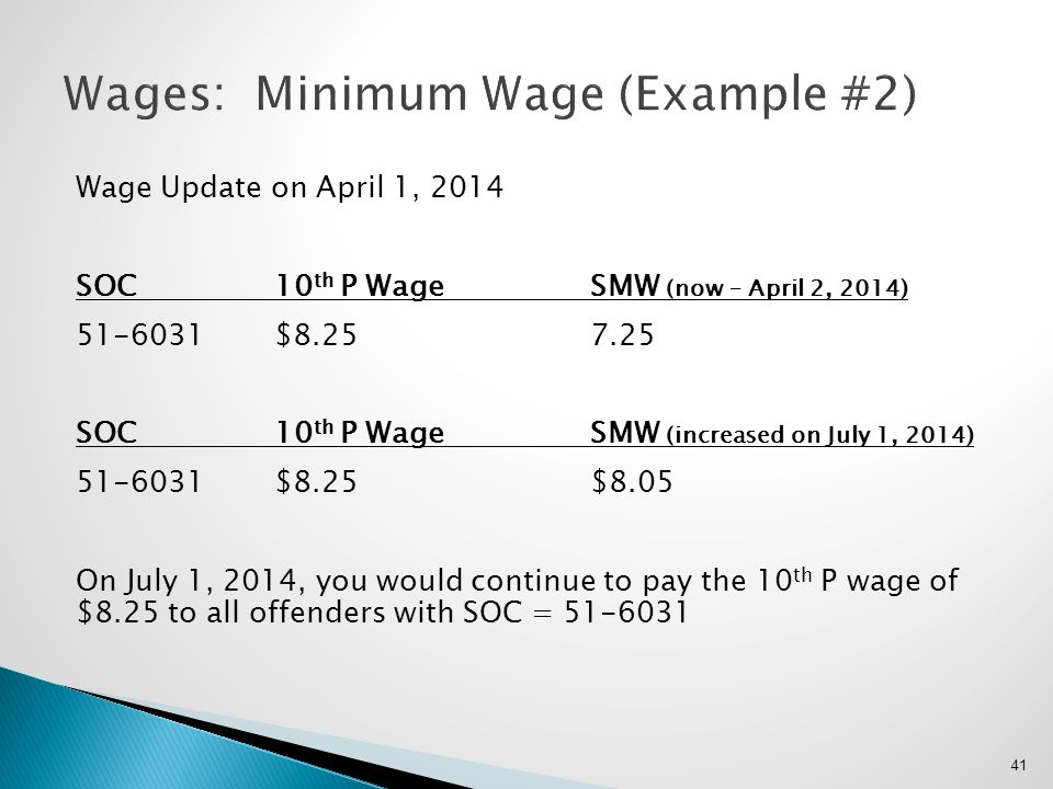 Wage Update on April 1, 2014 SOC10 th P WageSMW (now – April 2, 2014) 51-6031$8.257.25 SOC10 th P WageSMW (increased on July 1, 2014) 51-6031$8.25 $8.