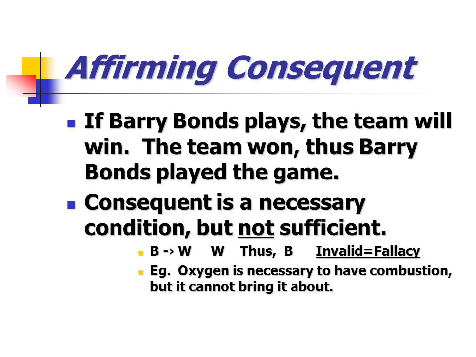 Affirming Consequent If Barry Bonds plays, the team will win. The team won, thus Barry Bonds played the game. If Barry Bonds plays, the team will win.