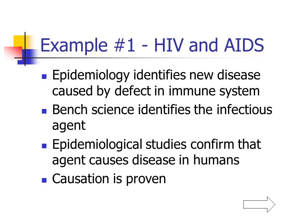 Example #1 - HIV and AIDS Epidemiology identifies new disease caused by defect in immune system Bench science identifies the infectious agent Epidemio