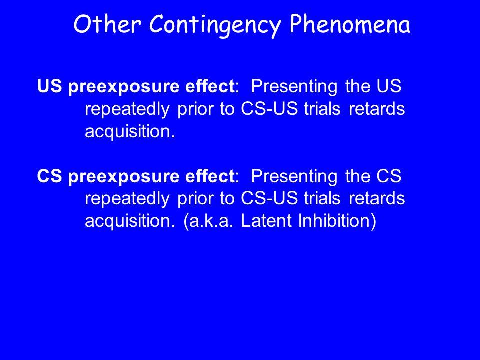 Other Contingency Phenomena US preexposure effect: Presenting the US repeatedly prior to CS-US trials retards acquisition. CS preexposure effect: Pres