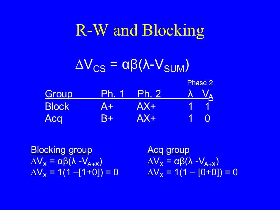 R-W and Blocking ∆V CS = αβ(λ-V SUM ) Blocking group ∆V X = αβ(λ -V A+X ) ∆V X = 1(1 –[1+0]) = 0 Acq group ∆V X = αβ(λ -V A+X ) ∆V X = 1(1 – [0+0]) =