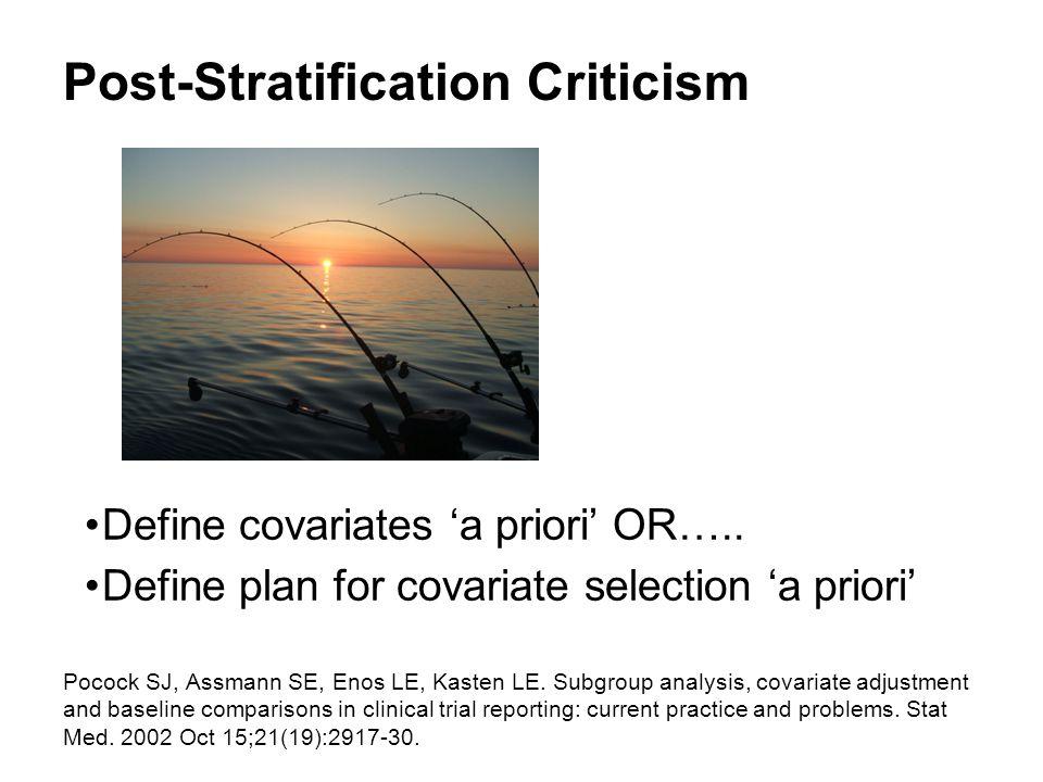 Post-Stratification Criticism Define covariates 'a priori' OR…..