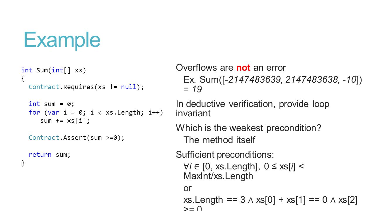 Example Overflows are not an error Ex.