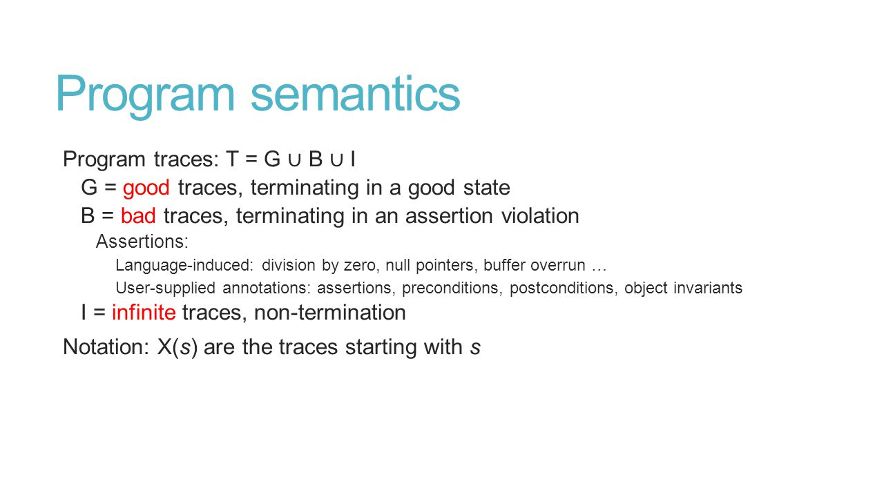 Program semantics Program traces: T = G ∪ B ∪ I G = good traces, terminating in a good state B = bad traces, terminating in an assertion violation Assertions: Language-induced: division by zero, null pointers, buffer overrun … User-supplied annotations: assertions, preconditions, postconditions, object invariants I = infinite traces, non-termination Notation: X(s) are the traces starting with s