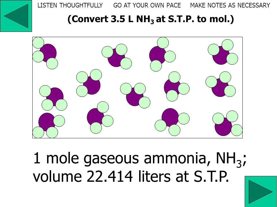 2. Convert 3.5 liters of ammonia at S.T.P. to moles.