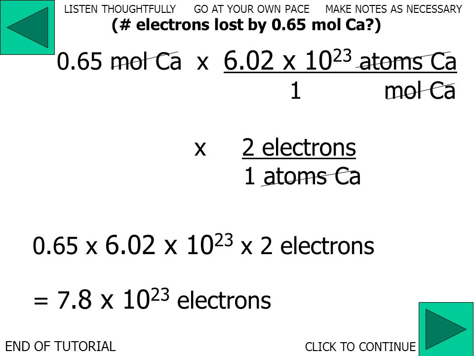 LISTEN THOUGHTFULLY GO AT YOUR OWN PACE MAKE NOTES AS NECESSARY x electrons atoms Ca 0.65 mol Cax __________________ atoms Ca mol Ca 6.02 x 10 23 1 21
